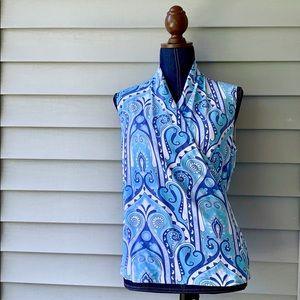 J. McLaughlin Blue Purple Paisley Wrap Blouse Top